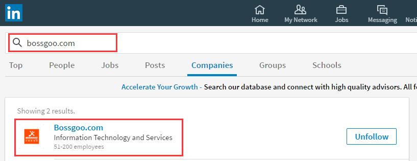 Linkedin公司主页链接