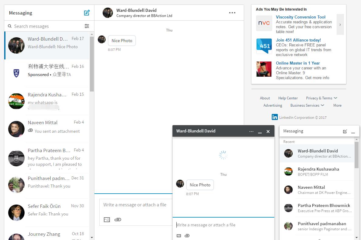 Linkedin Desktop Redesign - Messaging