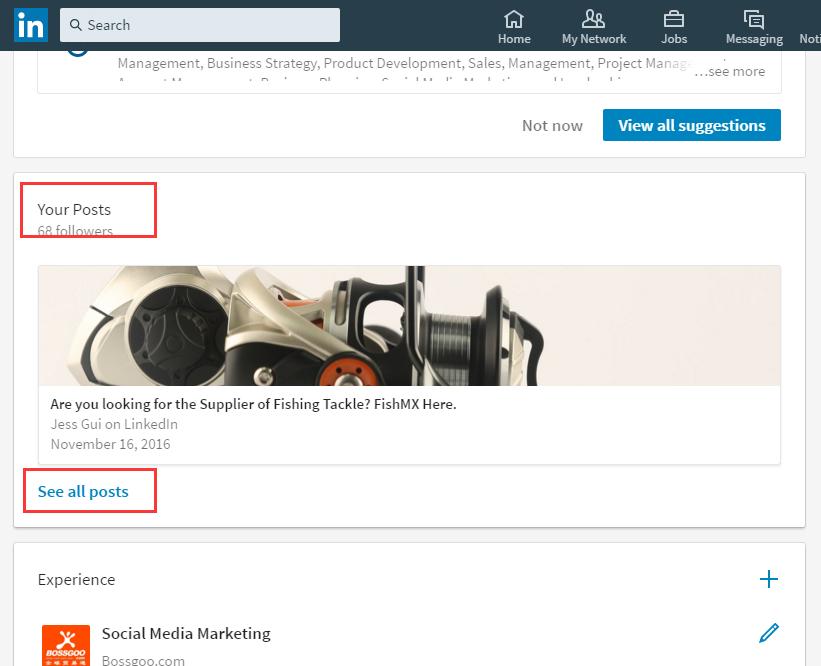 Linkedin Desktop Redesign - View all posts activities