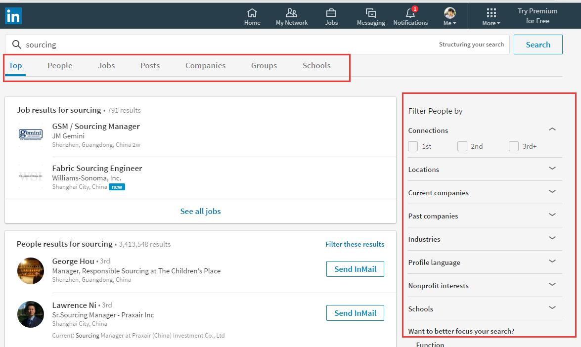 Linkedin Desktop Redesign Search