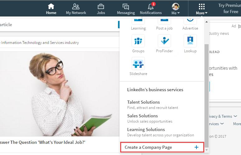 Linkedin Desktop Redesign - create Linkedin Company Page
